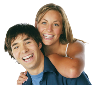 boy and girl with clear braces - Rigby ceramic braces