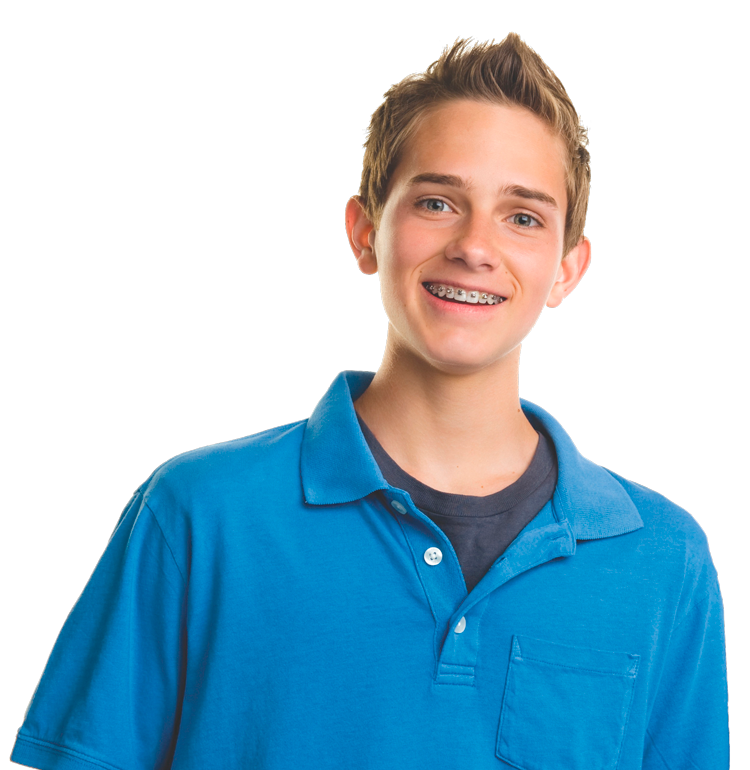 Young boy with braces - Rigby orthodontic office