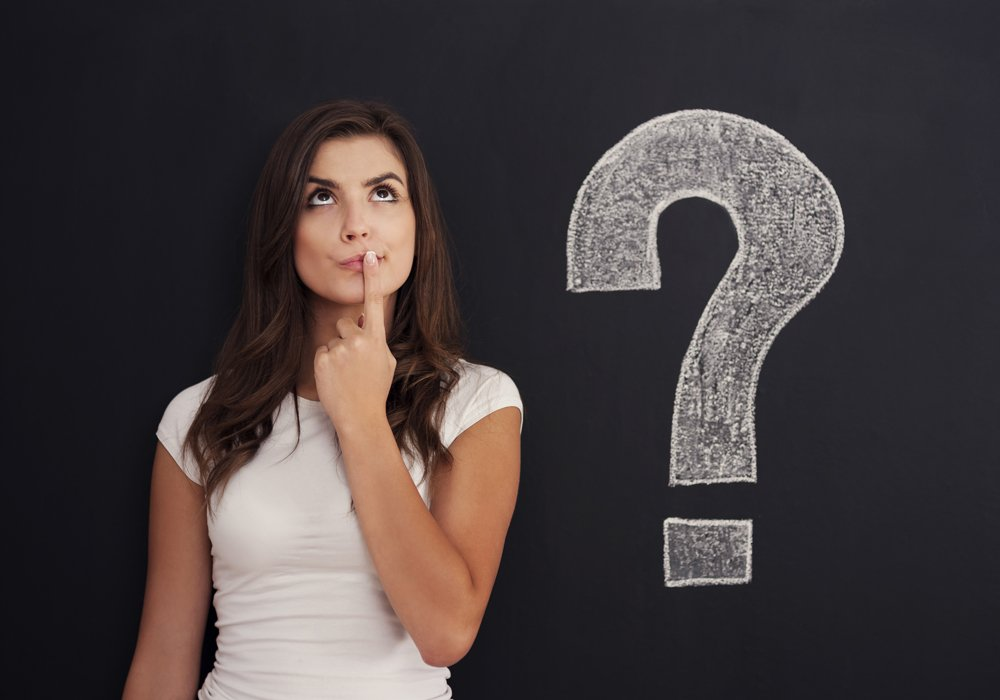 Woman with question mark on blackboard -